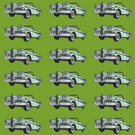 mint green 1958 Edsel Citation convertible on leaf green background fabric by edsel2084 on Spoonflower - custom fabric