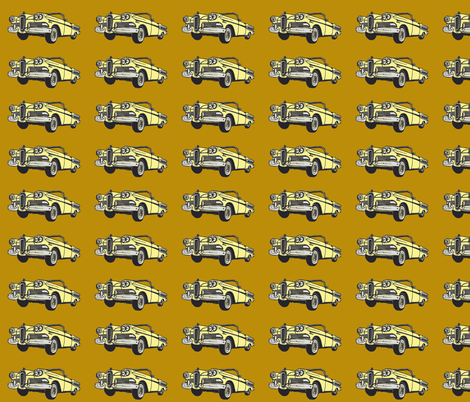 yellowl 1958 Edsel Citation convertible on honey mustard background fabric by edsel2084 on Spoonflower - custom fabric