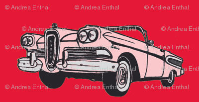 pink 1958 Edsel Citation convertible on red background