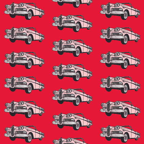 pink 1958 Edsel Citation convertible on red background fabric by edsel2084 on Spoonflower - custom fabric