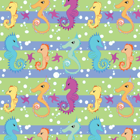 Seahorse Stripe fabric by opalnova on Spoonflower - custom fabric