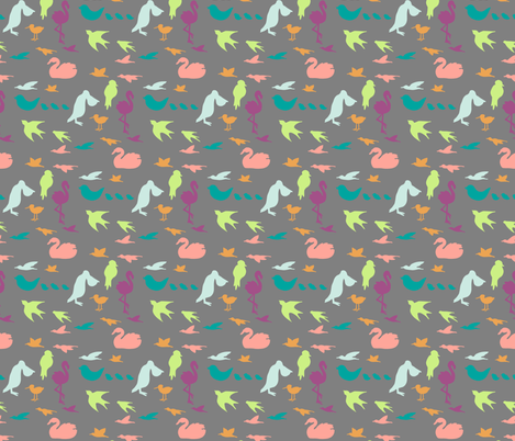 colorfulbirdsongray fabric by mrshervi on Spoonflower - custom fabric