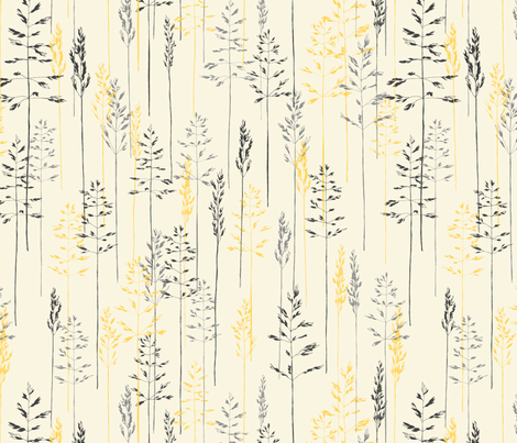 Grass_in_Grey_and_Yellow fabric by meduzy on Spoonflower - custom fabric