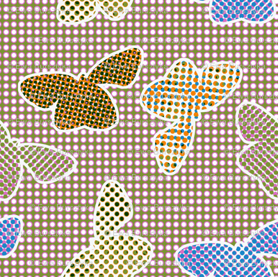 Retro butterflies in halftone pattern