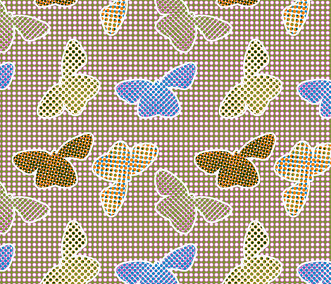 Retro butterflies in halftone pattern fabric by ravynka on Spoonflower - custom fabric