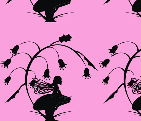 Silhouette_Toadstool_Fairy_on_pink fabric by moonduster on Spoonflower - custom fabric