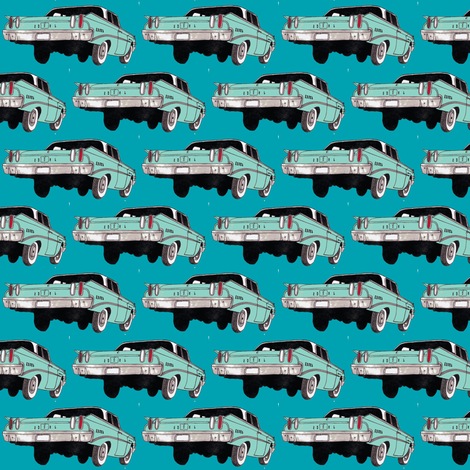 1960 Edsel Ranger Rear view aqua/turquoise fabric by edsel2084 on Spoonflower - custom fabric