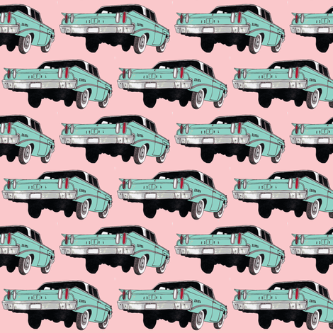1960 Edsel Ranger pink and blue fabric by edsel2084 on Spoonflower - custom fabric