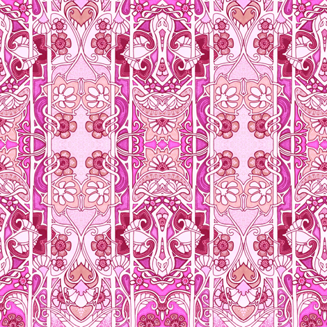 Love is an Art Nouveau Thing (pink) fabric by edsel2084 on Spoonflower - custom fabric