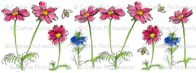 Honey Bee, Cosmos and Nigella