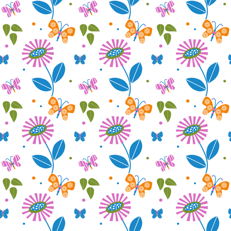 A Butterfly Filled Summer Garden Pretty hand drawn butterflies, flowers, and leaves by PinkSodaPop  © PinkSodaPop@4ComputerHeaven.com fabric by pinksodapop on Spoonflower - custom fabric