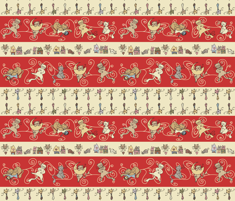 Cats - red fabric by catru on Spoonflower - custom fabric