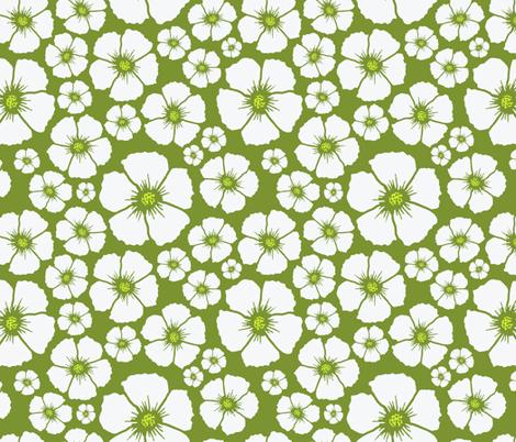 sweet white flowers fabric by caresa on Spoonflower - custom fabric