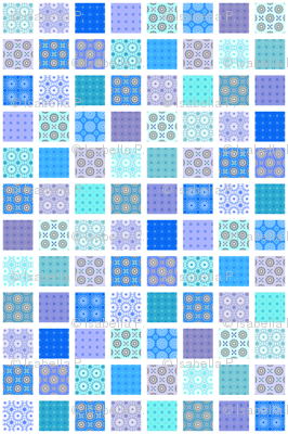 Winding Cotton Cool Blues Quilt