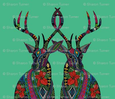 poinsettia deer emerald yard panel