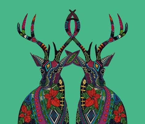 poinsettia deer emerald yard panel fabric by scrummy on Spoonflower - custom fabric