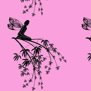 Silhouette_fairies_on_tree_branch_on_pink