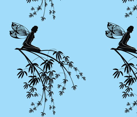 Silhouette_fairy_on_tree_branch_on_blue fabric by moonduster on Spoonflower - custom fabric