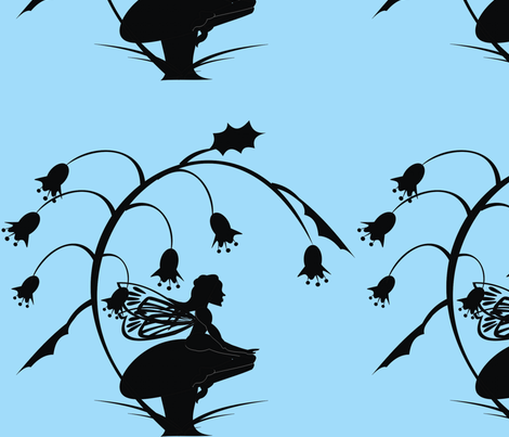 Silhouette_Toadstool_Fairy_on_blue fabric by moonduster on Spoonflower - custom fabric
