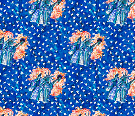 Miss_Liberty_in_the_Stars fabric by dm_art_ on Spoonflower - custom fabric