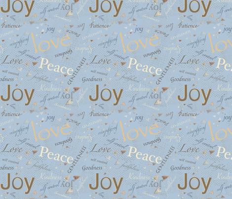 Fruits of The Spirit -Blue 2     (152-185-206) fabric by petals_fair_(peggy_brown) on Spoonflower - custom fabric