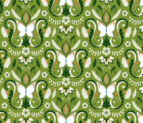 Butterfly Damask - Limited Palette Colors fabric by pattysloniger on Spoonflower - custom fabric