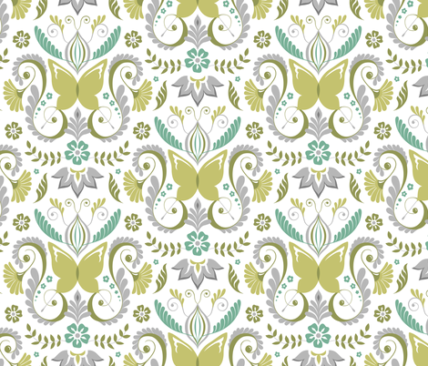 Butterfly Damask - Spring Mod Colors fabric by pattysloniger on Spoonflower - custom fabric