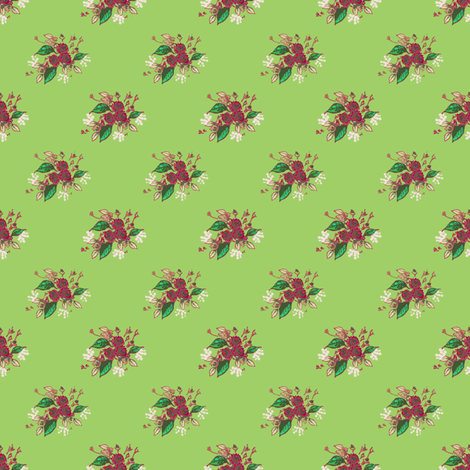 Roses in green fabric by joanmclemore on Spoonflower - custom fabric