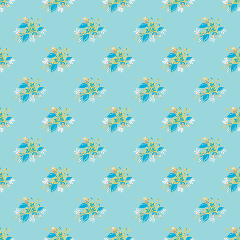 Roses in blue and yellow fabric by joanmclemore on Spoonflower - custom fabric