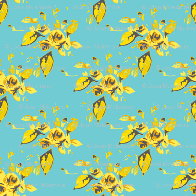 Roses Turquoise and Yellow