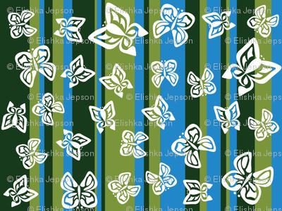 Green Butterfly Stripes