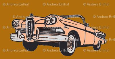 sunset coral 1958 Edsel Citation convertible on golden brown background