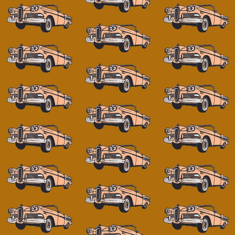 sunset coral 1958 Edsel Citation convertible on golden brown background fabric by edsel2084 on Spoonflower - custom fabric