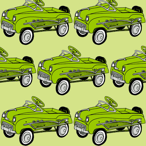 1950's Bright Green Child's Pedal Car fabric by edsel2084 on Spoonflower - custom fabric
