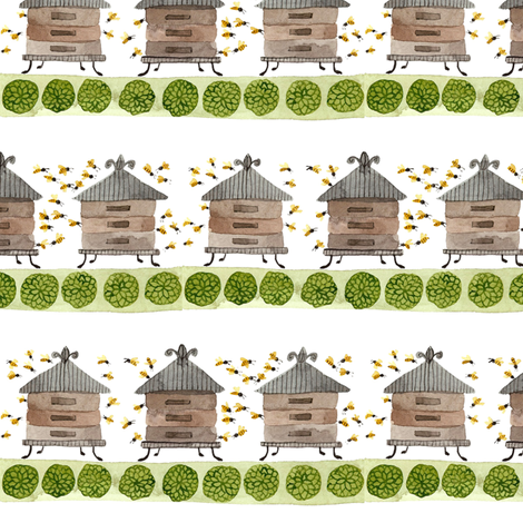 Honey Garden - Topiary Collection fabric by gollybard on Spoonflower - custom fabric