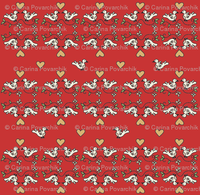 Birds in love - red