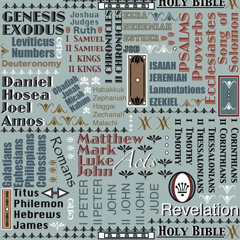 Books of The Bible - Blue 1 fabric by petals_fair_(peggy_brown) on Spoonflower - custom fabric