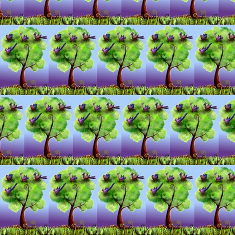 Fantasy birds in their night tree fabric by vinkeli on Spoonflower - custom fabric