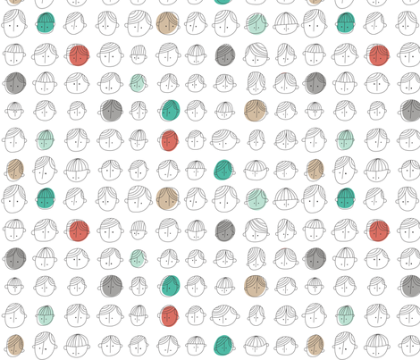 Cute Faces fabric by ankepanke on Spoonflower - custom fabric
