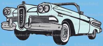 big blue 1958 Edsel Citation convertible