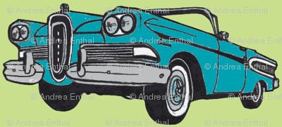 bold blue 1958 Edsel Citation convertible on lime background