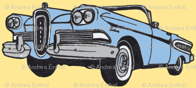 blue 1958 Edsel Citation convertible on yellow background