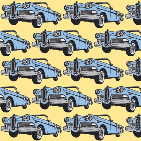 blue 1958 Edsel Citation convertible on yellow background fabric by edsel2084 on Spoonflower - custom fabric
