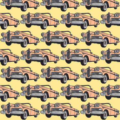 peachy 1958 Edsel Citation convertible, yellow background fabric by edsel2084 on Spoonflower - custom fabric