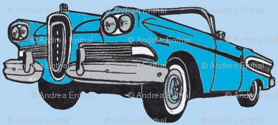 big cyan 1958 Edsel Citation convertible on sky blue