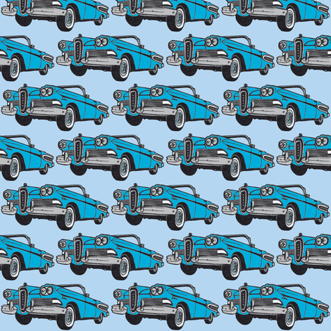big cyan 1958 Edsel Citation convertible on sky blue fabric by edsel2084 on Spoonflower - custom fabric