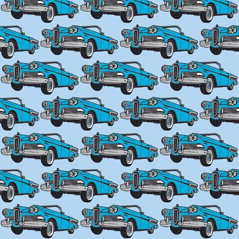 big cyan 1958 Edsel Citation convertible on sky blue fabric by edsel2084 on Spoonflower - custom fabric