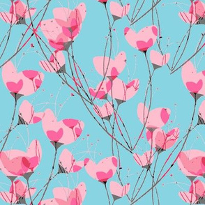 Pink Primrose Blue Background