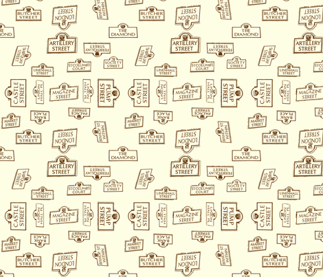 Derry City Streets_neutral large fabric by cherryandcinnamon on Spoonflower - custom fabric