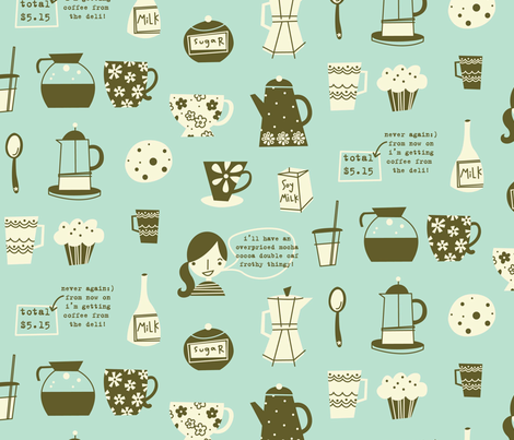 cafe au lait aqua fabric by amel24 on Spoonflower - custom fabric